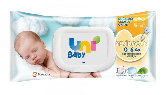 Uni Baby'den Doğallığı Onaylı Yenidoğan Islak Pamuk Mendil